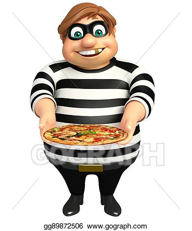 Thief with pizza stock. Burglar clipart smuggler