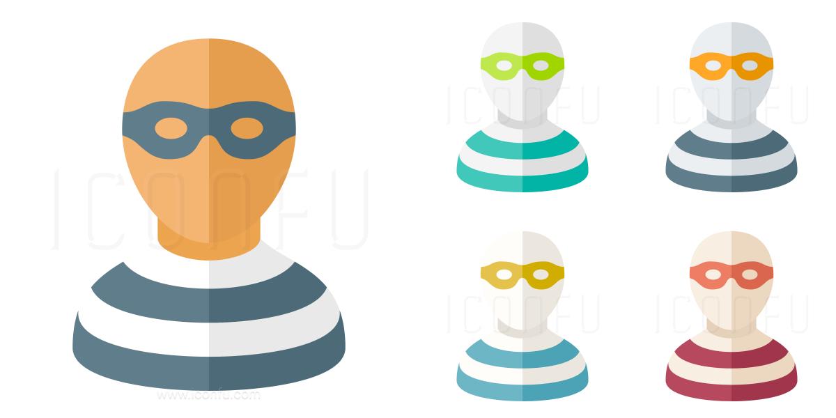 Criminal icon paper style. Burglar clipart thug