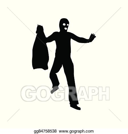 Burglar clipart thug. Vector illustration robber silhouette