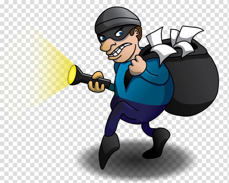 Man holding flashlight and. Burglar clipart transparent