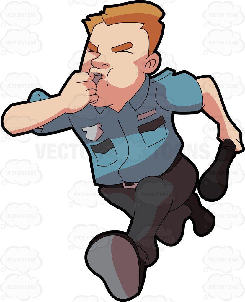 Burglar clipart vector. A security guard running