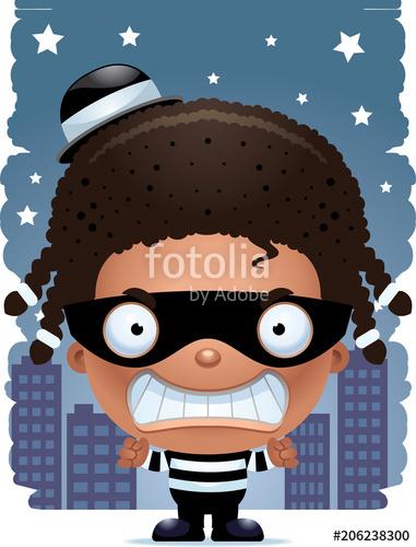 Angry cartoon girl stock. Burglar clipart vector
