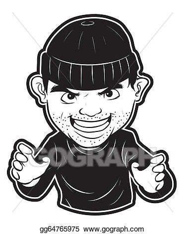 Art drawing gg gograph. Burglar clipart vector