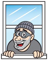 Cartoon in stock vector. Burglar clipart window
