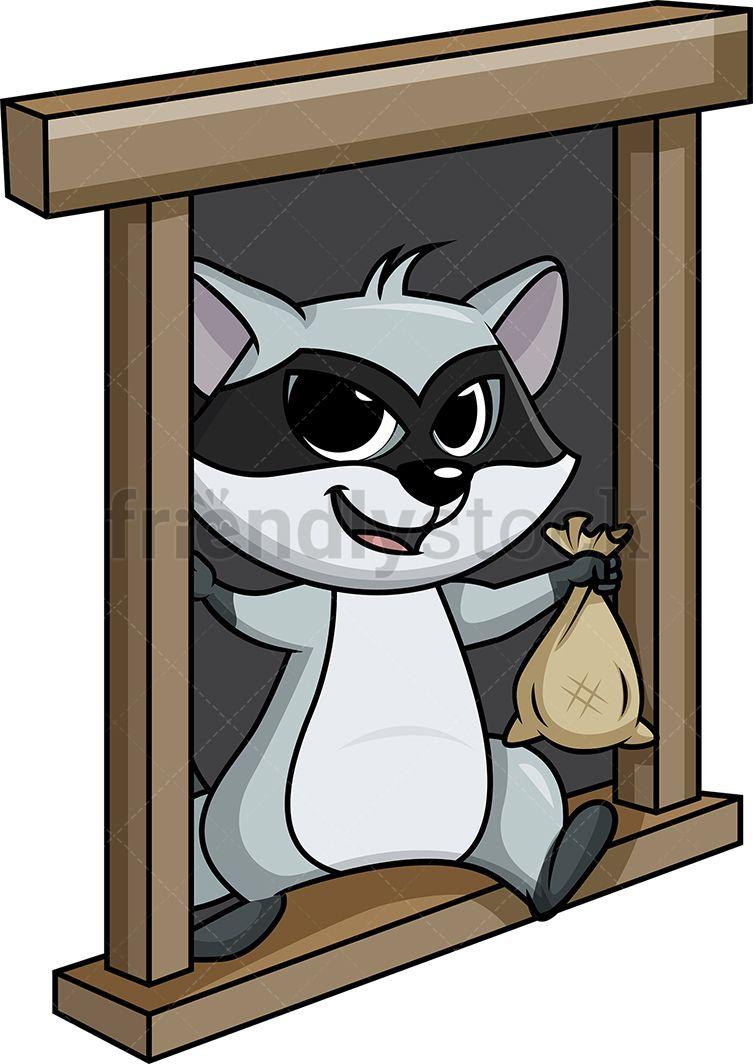 Burglar clipart window. Raccoon thief escaping from