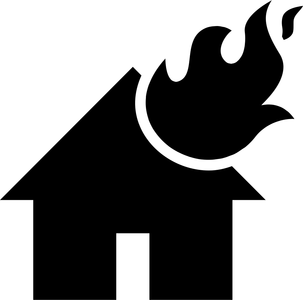 Flames on a svg. Burning house png