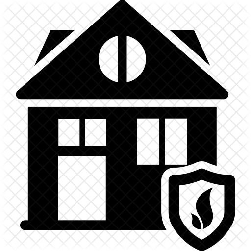 Fire protection icon real. Burning house png