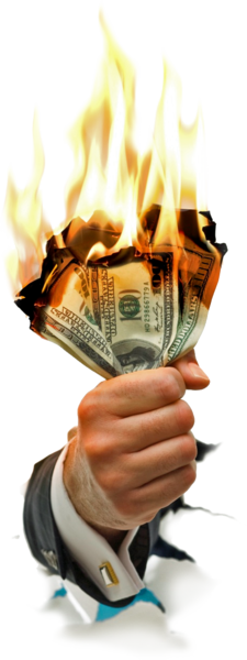 In hand psd official. Burning money png