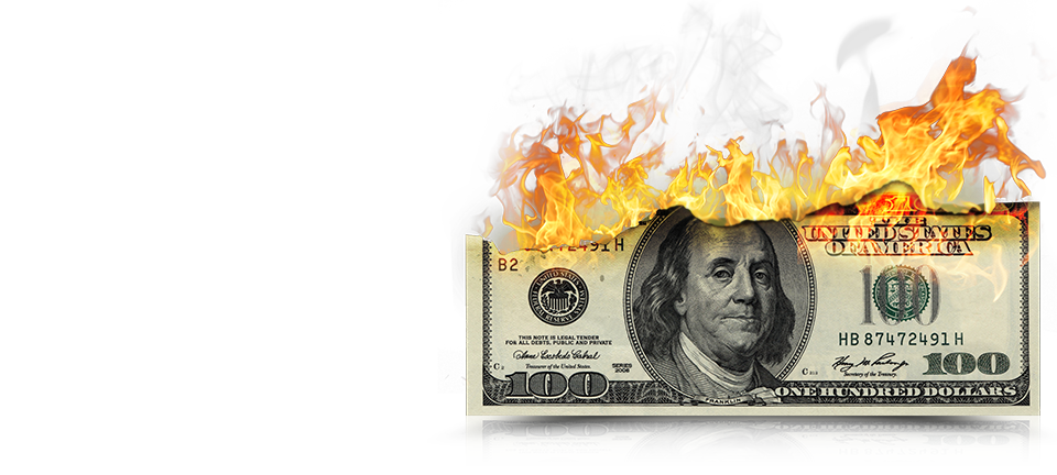 Sink your injury claim. Burning money png
