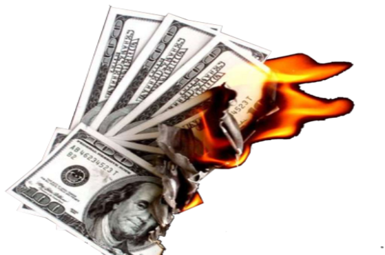 How winning the lottery. Burning money png