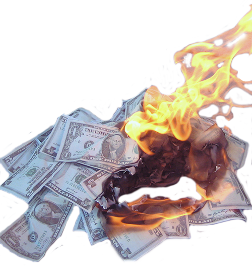 Burning money png. Cash payment finance burn