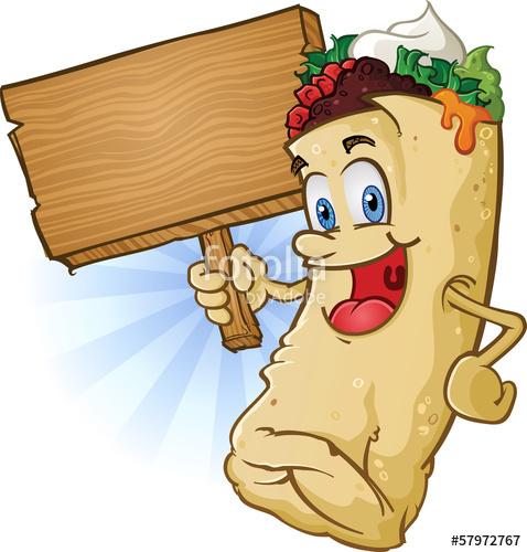 Cartoon character holding sign. Burrito clipart bean cheese burrito