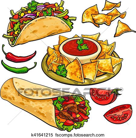 Pretentious design salsa chips. Burrito clipart cartoon