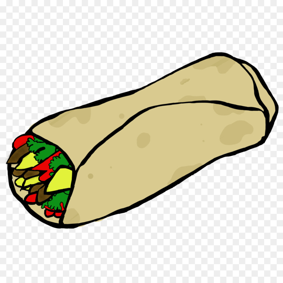 Taco breakfast food line. Burrito clipart cartoon
