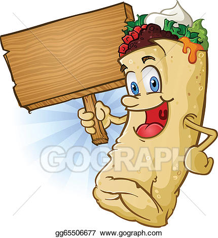 Burrito clipart cartoon. Vector illustration holding sign