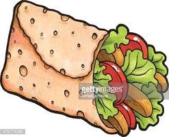 Fajita sandwich stock vectors. Burrito clipart chicken wrap
