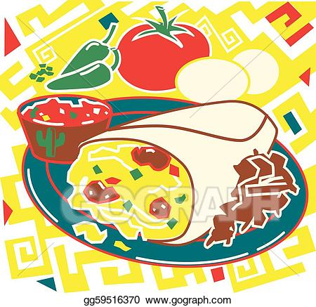 Burrito clipart clip art. Vector illustration breakfast stock