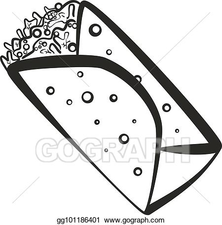 Vector art black isolated. Burrito clipart drawing
