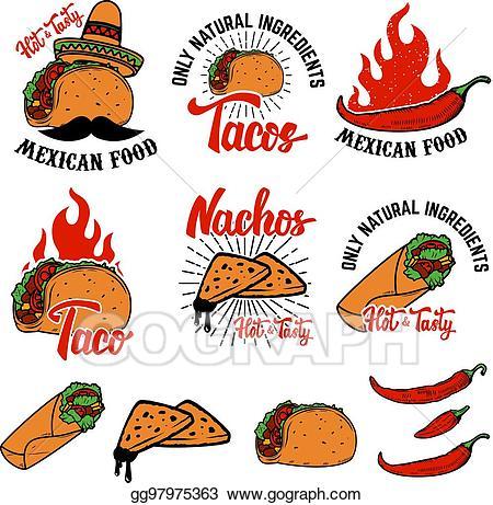 Vector art mexican food. Burrito clipart drawing
