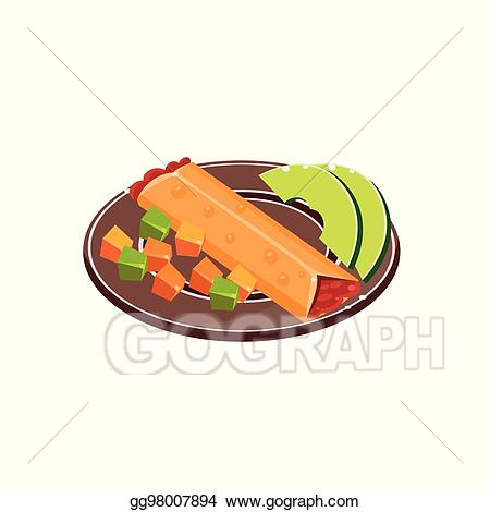 Burrito clipart drawing. Vector art on plate