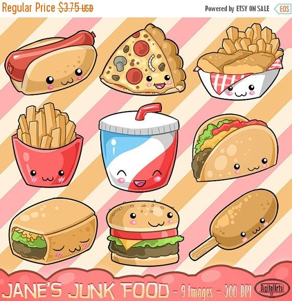 Pizza clipart junk food. Kawaii cute fast download