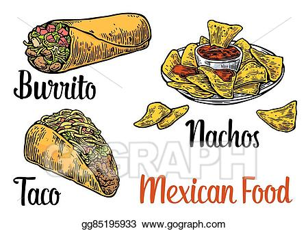 Burrito clipart food. Vector stock mexican traditional