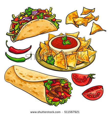 Set of traditional mexican. Nachos clipart hispanic food