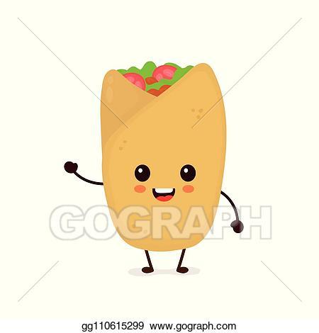 Burrito clipart happy. Vector stock cute funny