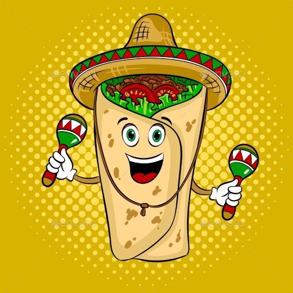 Burrito clipart happy. In mexican hat sombrero