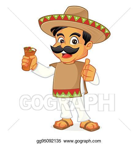 Vector mexican holding . Burrito clipart man