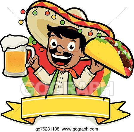 Vector stock mexican holding. Burrito clipart man