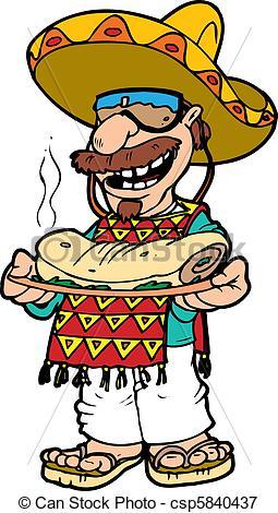 Holding a platter panda. Burrito clipart man