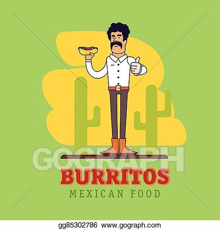 Vector stock modern mexican. Burrito clipart man