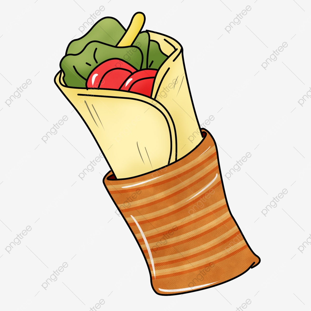 Hand drawn burritos illustration. Burrito clipart small food