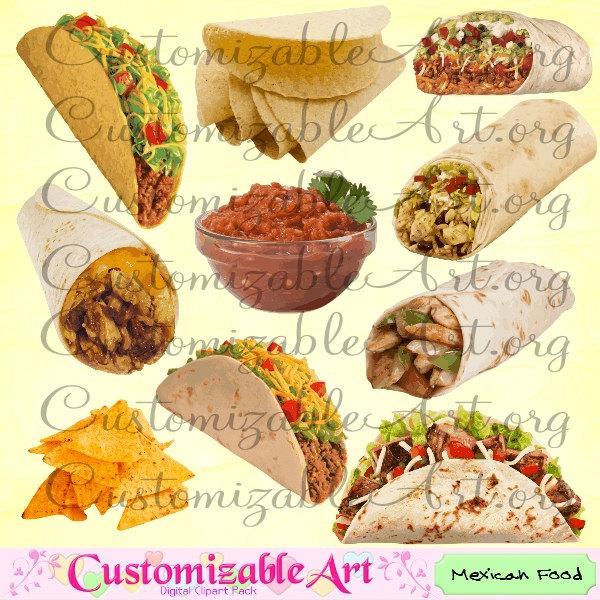 Mexican food digital clip. Burrito clipart tortilla