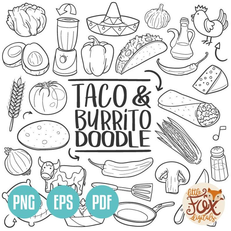 Burrito clipart vector. Eps taco mexican fast