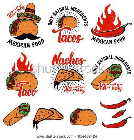 Mexican food nachos taco. Burrito clipart vector