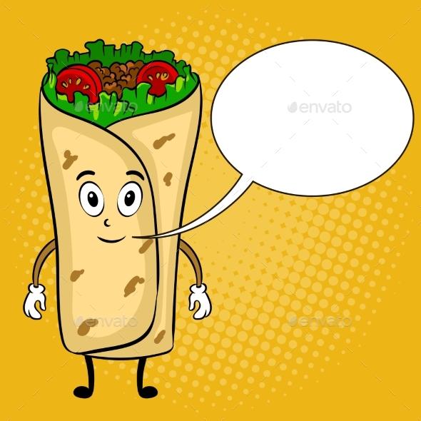 Cartoon pop art illustration. Burrito clipart vector