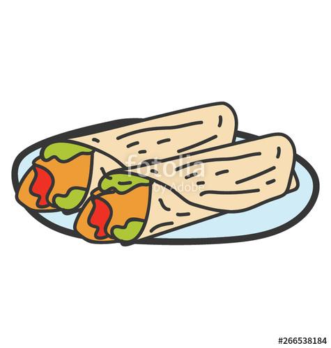 Burrito clipart vector. Tortilla rolls with filling