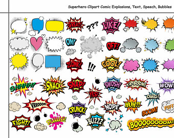 Burst clipart comic book. Etsy unique superhero explosions