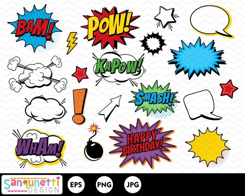 Burst clipart comic book. Superhero burts party clip