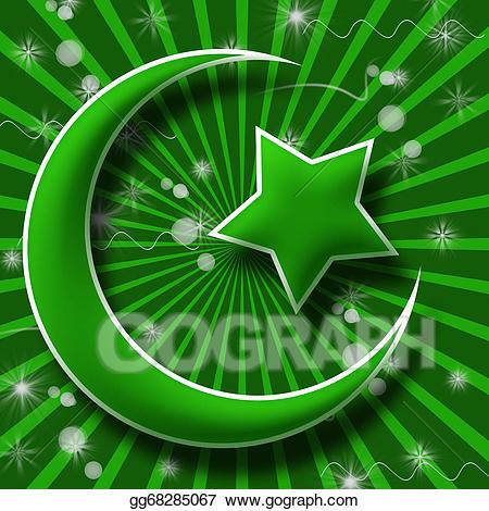 Burst clipart green. Stock illustration islam symbol