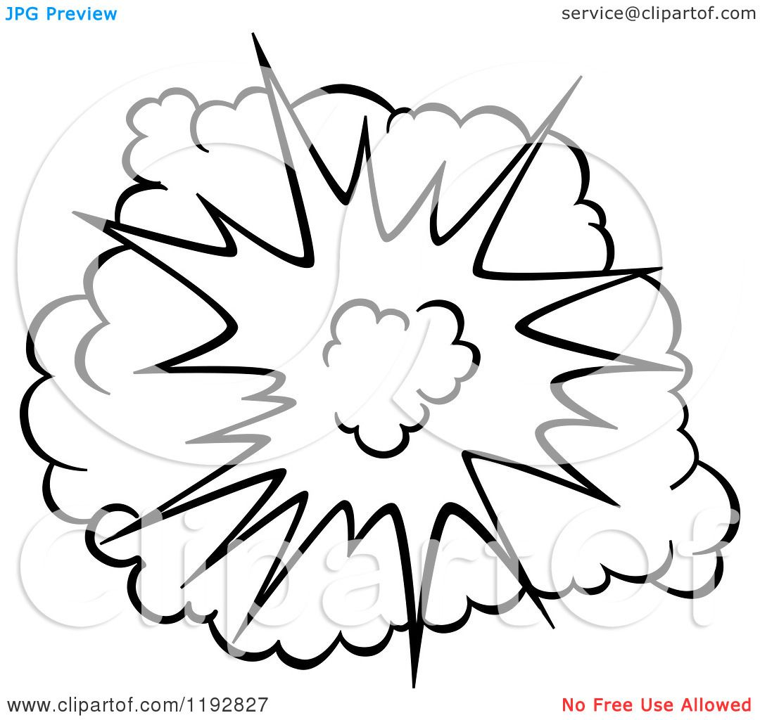 Explosion clipart black and white. Of a comic burst