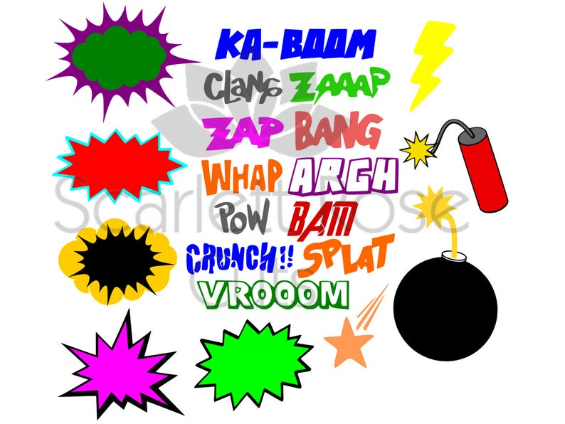 Cartoon explosion superhero svg. Burst clipart pow