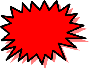 Burst clipart pow. Red explosion blank clip