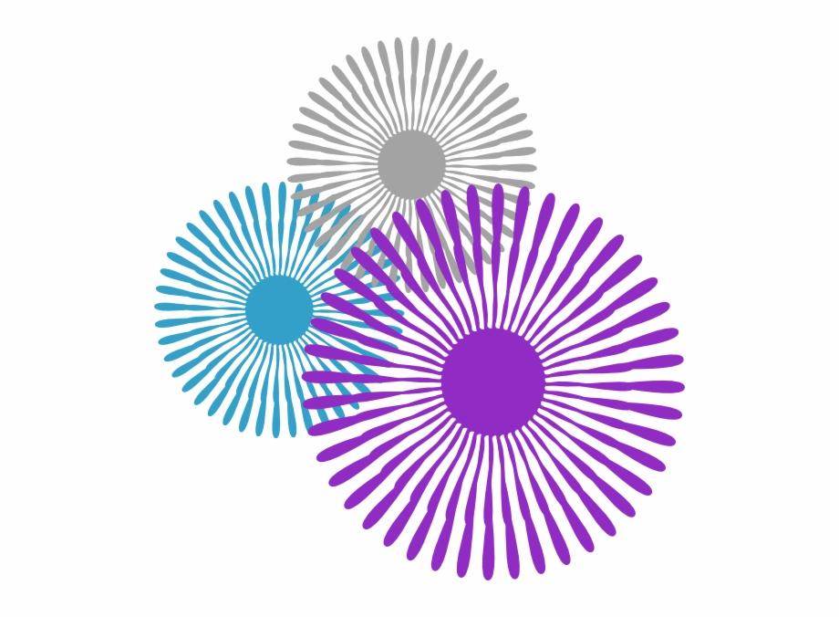 Starburst flower trio png. Burst clipart purple