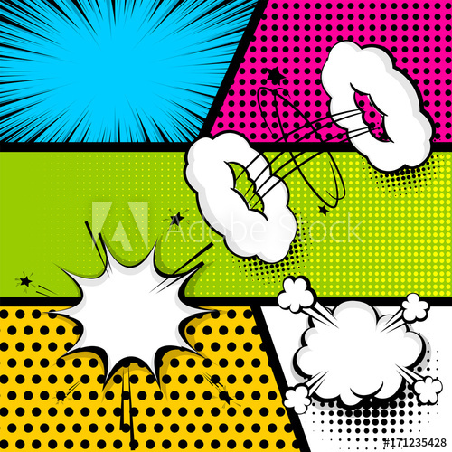 Burst clipart template. Pop art comics book