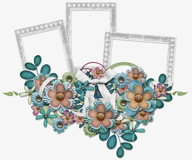 Three flowers frame triple. Burst clipart turquoise