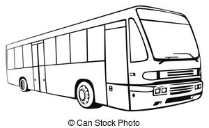 Bus clipart black and white. City station
