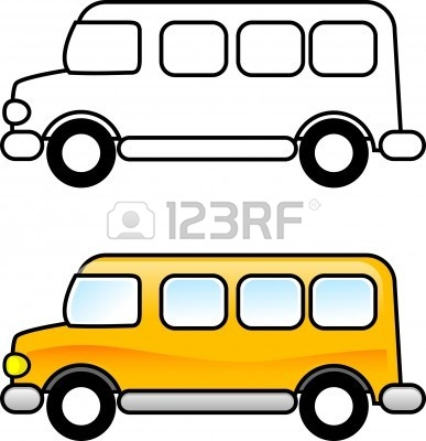 School clip art panda. Bus clipart black and white